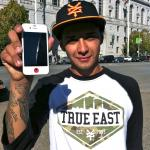 Chaz Ortiz with ThinDot on his iPhone