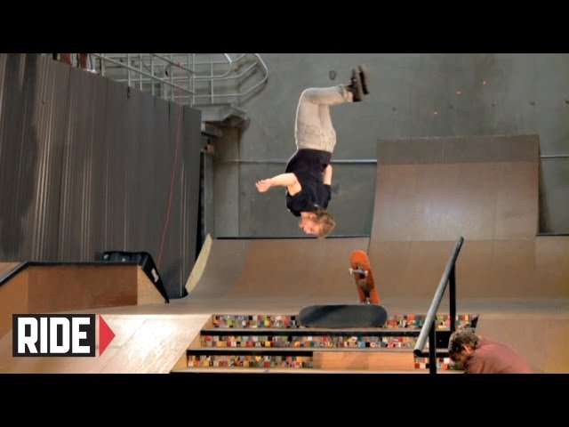 Backflip skateboard transfer down a 6-stair