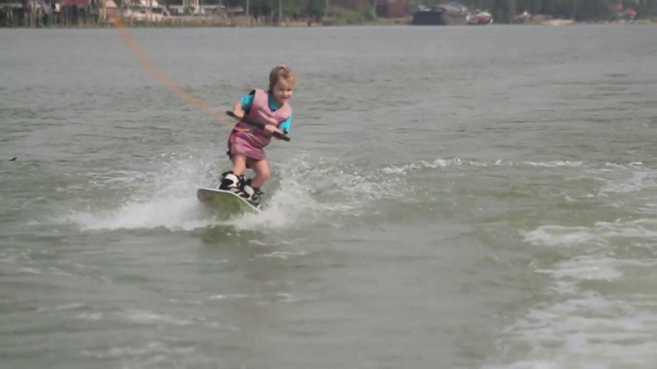 3-year-old Liza wakeboarding