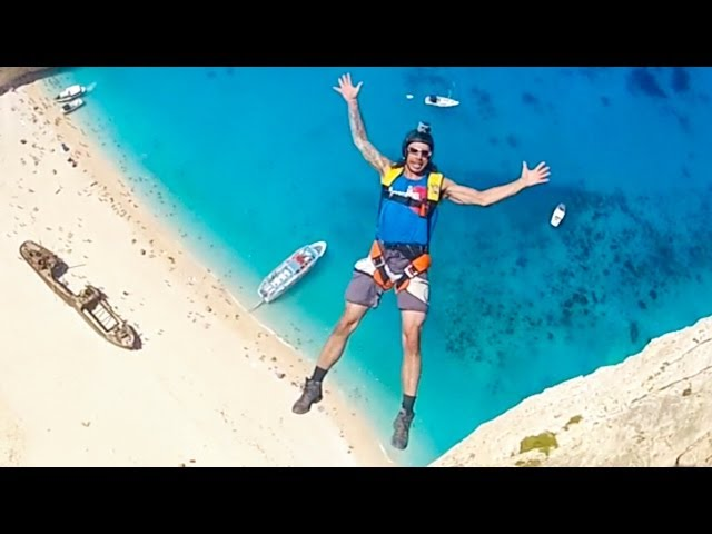 Base Jumping Beach Cliffs in Greece