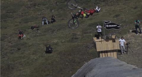 First Ever Double Backflip on Mountain Bike!