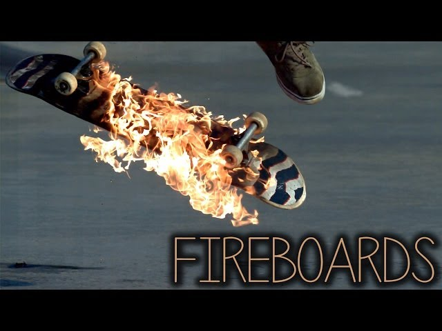 skateboarding on fire.