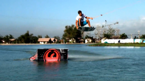 Nick Taylor wakeskates on cables at CWC