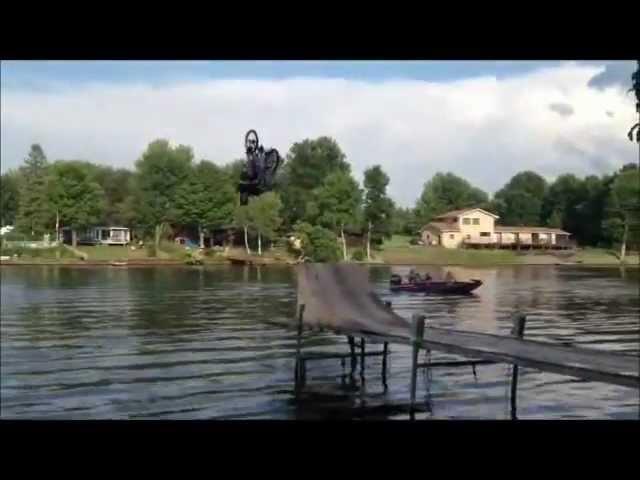 Back Flip River Bike Jump