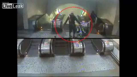 Dude Bikes Down Escalator FAIL