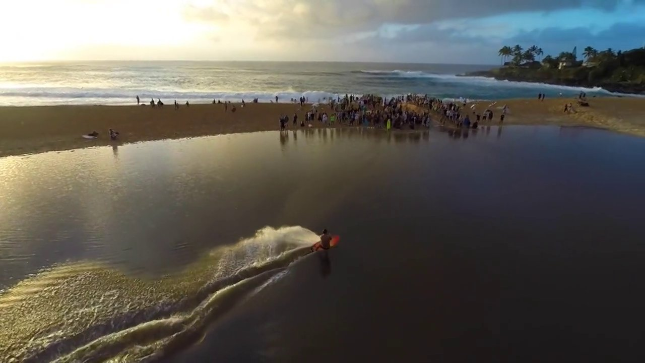 Drone View of Waimea River Surfing