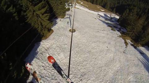 Skier Grinds Entire Chairlift Cable!