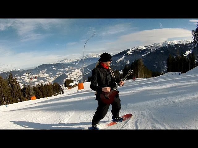 Snowboarding whilst playing guitar