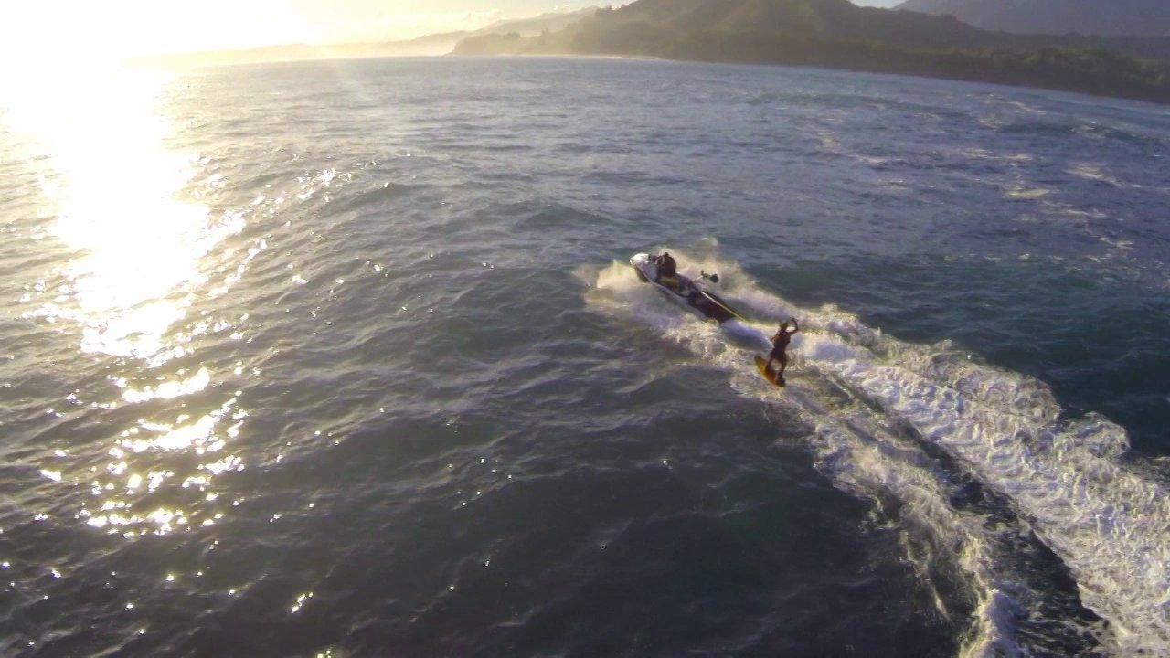 Laird Hamilton Foilboarding Kauai