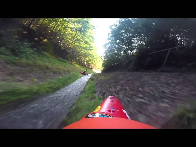 Speed kayaking in a drainage ditch