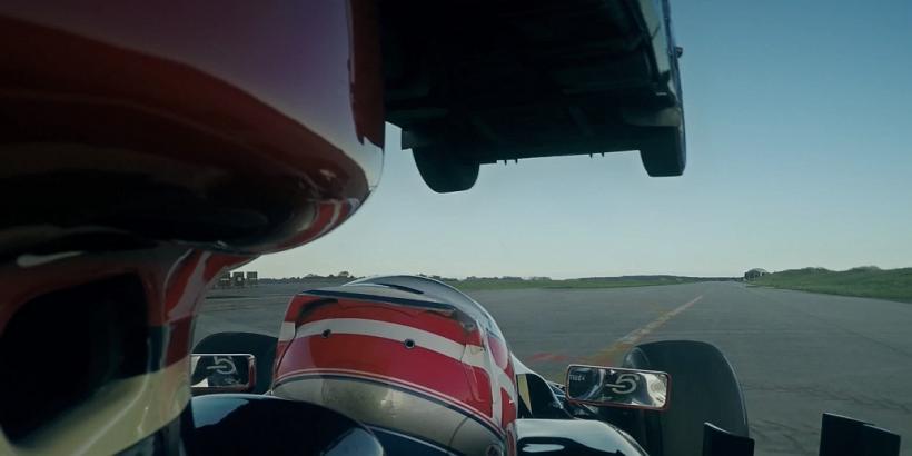 Semi-truck Jumps Over F1 Car