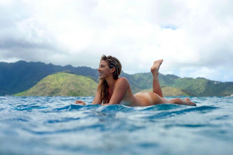 Coco Ho Surfing Naked for ESPN Body Issue