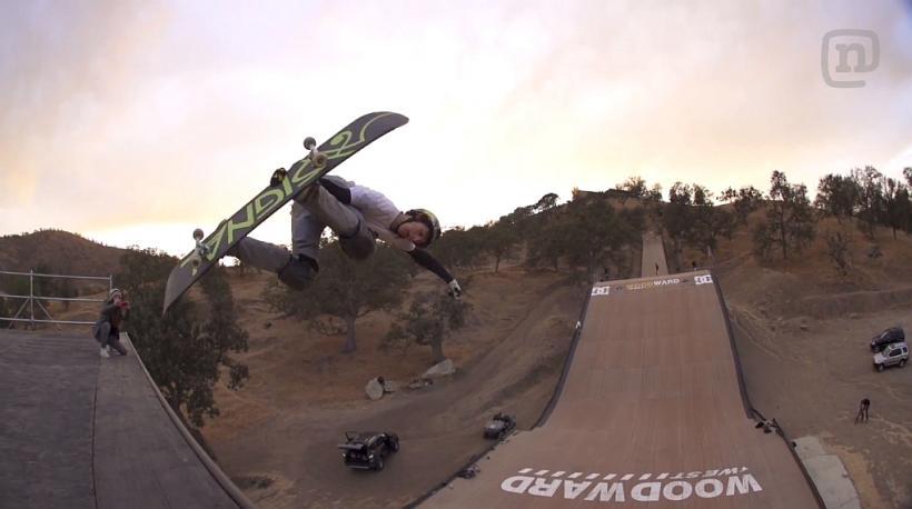 Hybrid Skateboard Snowboard on Megaramp