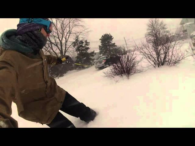 This is nuts! Real street snowboarding!