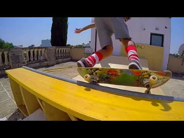 skateboarding in my mini ramp