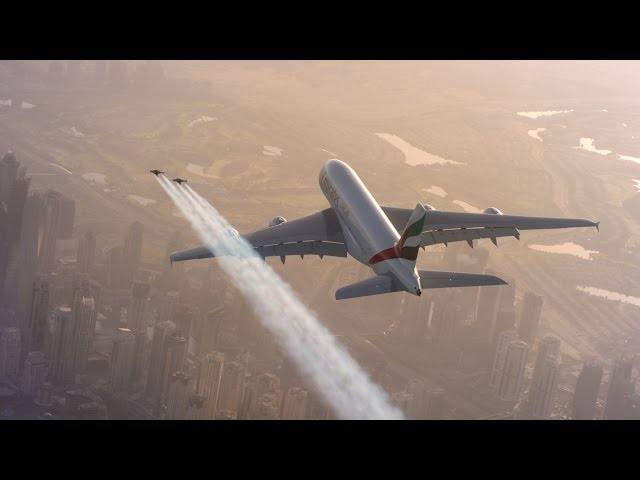 Jetman Dubai Flies In Formation With Emirates A380