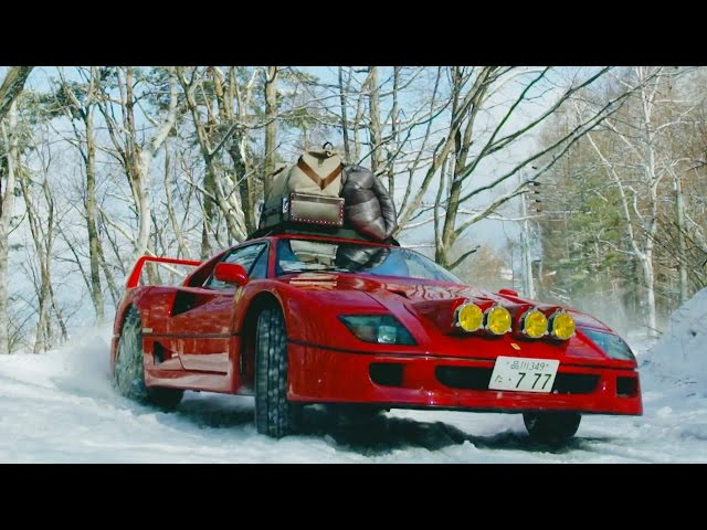 Ferrari F40 Drifting Up Snowy Mountains In Japan