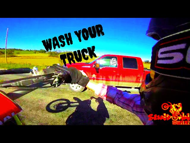 DIRTBIKE WHEELIE STUNTS - TRUCK PASS- GRAVEL FUN
