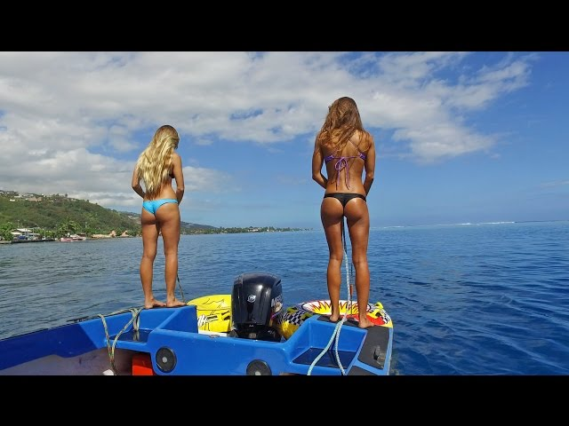 KALOEA Surfer Girls - Tubing in Tahiti (HD Drone )