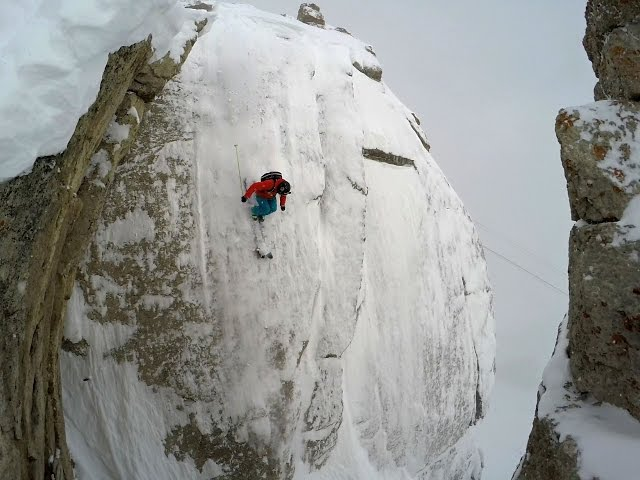 Skiing Wallride at Jackson Hole 85 Foot Cliff Flip