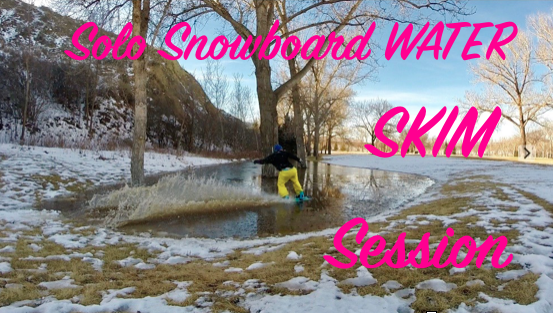 Solo Snowboard Water Skim Session