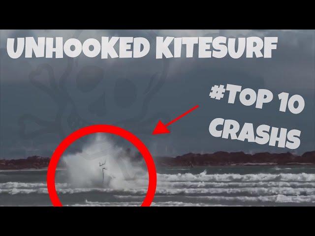💀😂 #TOP10 _ UNHOOKED KITESURF CRASHS 💀☠