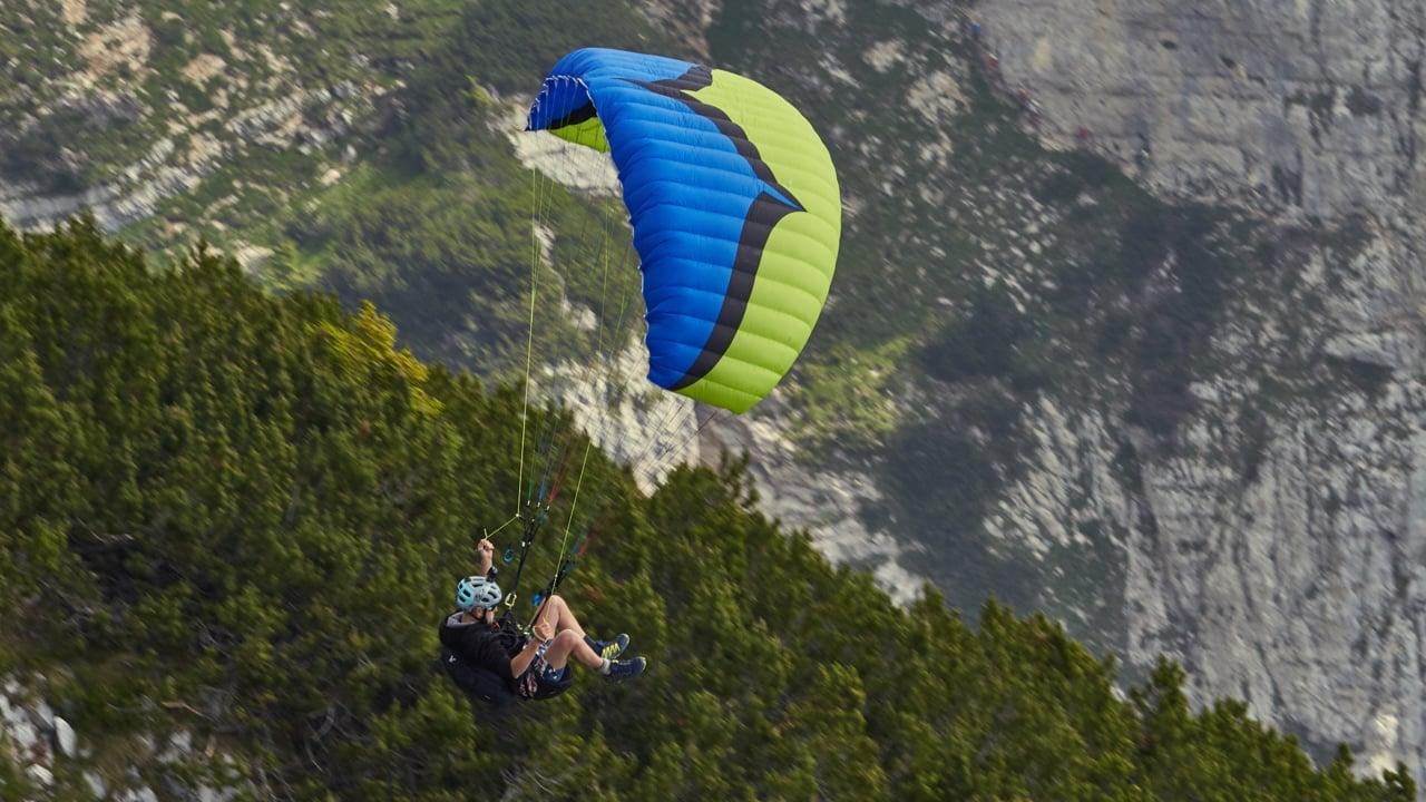 Flying through big mountain gorges