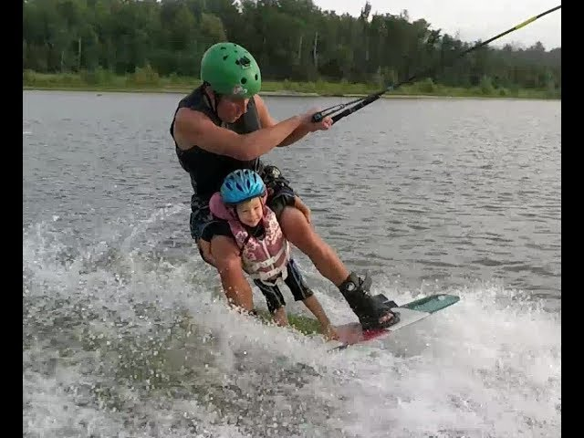 2yr old Kai Wakeboarding with Daddy