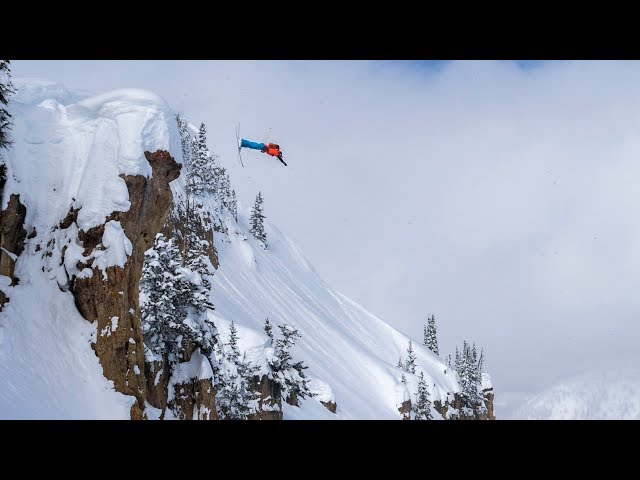 Jackson Hole Skiing 90 foot Front Flip, Huge cliff