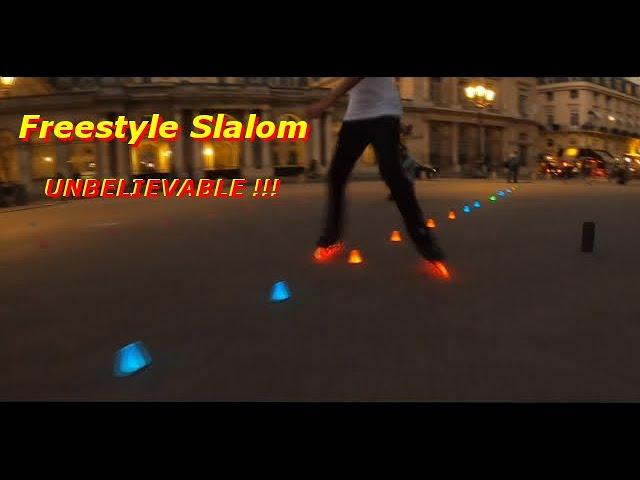 Roller Freestyle Slalom Paris at night